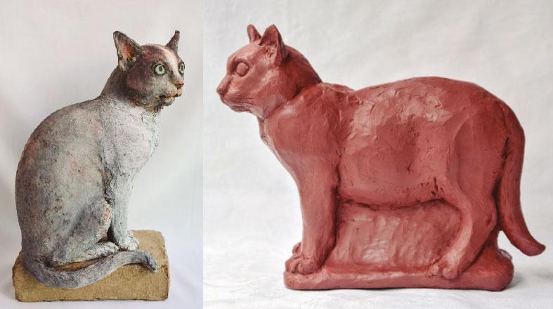 Esculturas e pinturas cujo felino é o protagonista